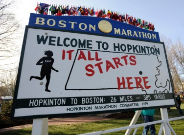 Apr 18, 2016; Boston, MA, USA; A Boston Marathon sign is displayed at the start line in Hopkington MA. Mandatory Credit: Bob DeChiara-USA TODAY Sports ORG XMIT: USATSI-265182 ORIG FILE ID: 20160418_sal_ad7_172.JPG
